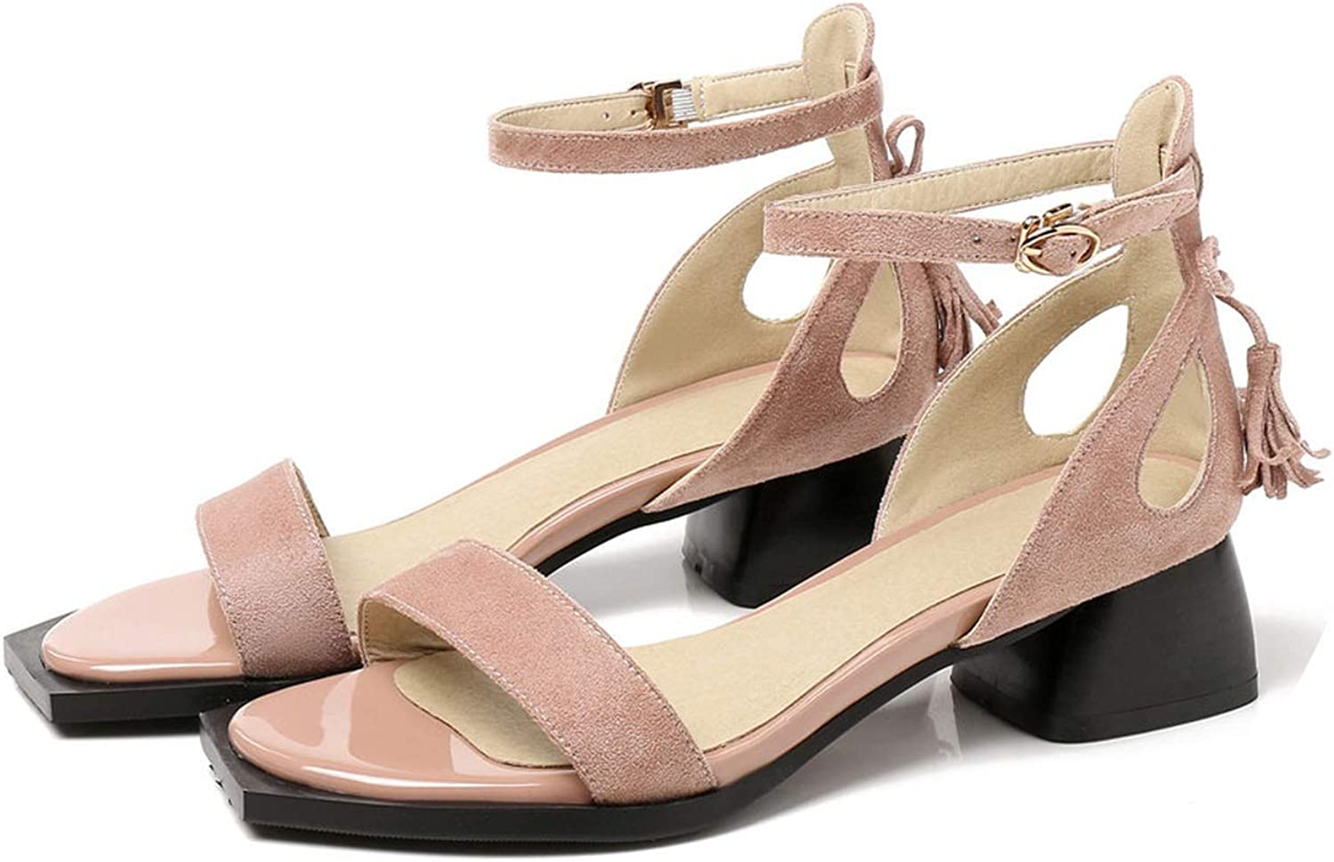 Women Sandals Flock Summer shoes Big Size 33-43 Solid Casual shoes high Heel Ladies shoes