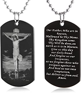FAYERXL The Lord's Prayer Christian Scripture Crosses Jesus Our Father Crusify Dog Tag Necklace