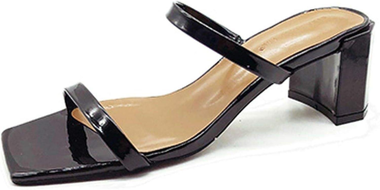 Monicas-Dream Slip On Square Heel Women Slipper Summer Outdoor Trendy Comfortable Women Sandals Thin Strap Women Slipper