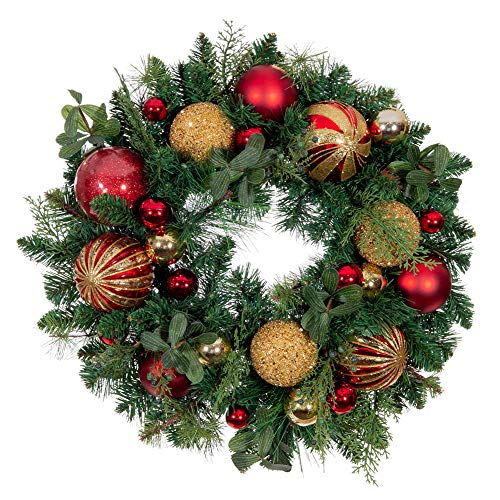 VILLAGE LIGHTING COMPANY [24 Inch Artificial Christmas Wreath] - Christmas Classic Collection - Red and Gold Decoration Consisting of Golden and Crimson Ornaments