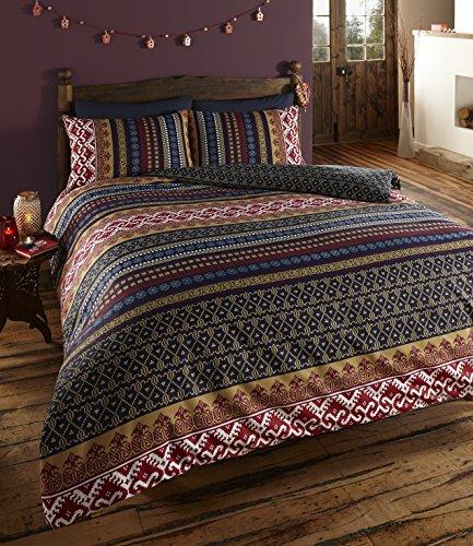 De cama - Juego de Funda de edredón y Fundas de Almohada, diseño étnico Indio, Multicolor