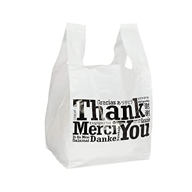 """Royal Recyclable Plastic Shopping Bags with Flat Bottoms, 11.5 x 10.5 x 19 Inches, Multilingual""""Thank You"""" Design, Case of 250"""