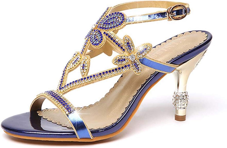 Högklackar för modeskor med öppna tåskor och diamantblommor med romerska sandaler sommar ny
