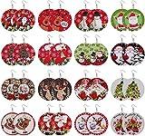 Adramata 16 paia di orecchini natalizi per donna Orecchini rotondi in legno dipinto a goccia pendenti Albero di Natale carino Pupazzo di neve Cervo Babbo Natale Orecchini natalizi Set regali di Natale