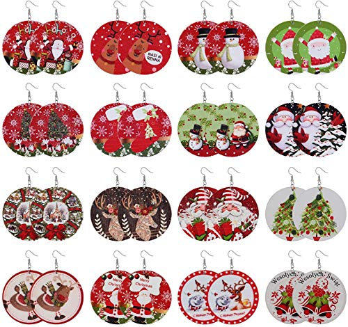 Adramata 16 Pairs Christmas Earrings for Women Round Wooden Painted Drop Dangle Earrings Cute Christmas Tree Snowman Deer Santa Claus Holiday Earrings Set Christmas Gifts