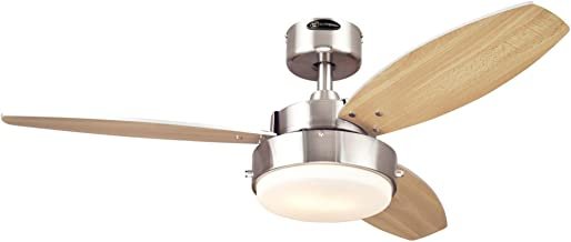 Westinghouse Lighting 7247300 Alloy Two-Light Reversible Three-Blade Indoor Ceiling Fan, 42-Inch, Brushed Nickel Finish with Opal Frosted Glass