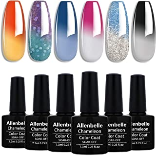 Allenbelle Esmaltes Permanentes Para Uñas Nail Art Soak Off UV LED Esmalte Permanente de gel (Lot 4 pcs 7.3MLpc) 009