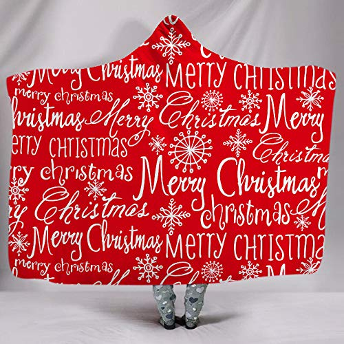 MTCDBD Kuscheldecke Mit Kapuze,Frohe Weihnachten Briefe 3D Digital Printed Velvet Double Layer Verdickter Umhang, Tragbar Warm Bequem Bequem Stilvoll Atmungsaktiv Designed, Kreative, 150