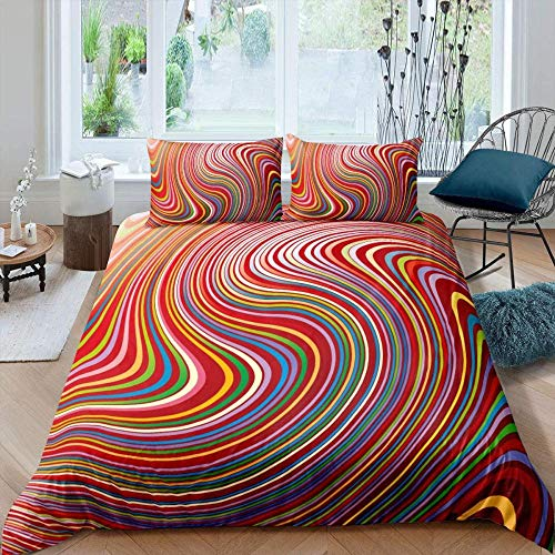 Bcooseso Duvet Cover Sets Double size Abstract marble rainbow geometric stripe pattern 3D Print Bedding Set 3 Pcs Ultra Soft Microfiber Quilt Cover, 1 Duvet Cover + 2 Pillowcases 200 x 200 cm