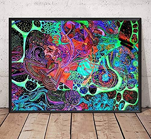 XQWZM Dekorative Poster, Schwarzlicht Gemälde Psychedelic Trippy Abstrakte Wandkunst Leinwand Malerei Poster Und Drucke, Room Home Decor 42X60 cm