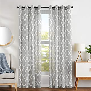 jinchan Moroccan Tile Printed Linen Curtains 95 inch Long for Bedroom Curtain Living Room Window Drapes Lattice Grommet Top Set of Two Quatrefoil Grey Curtain Panels