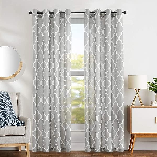 Curtains For Living Room Grey 95 Inch Bedroom Drapes Moroccan Tile Linen Blend Grommet Top Quatrefoil Lattice Gray Curtains Window Treatment Set 2 Panels