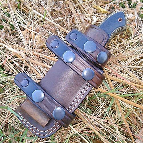 Ottoza Handmade Small Knife Sheath - Leather Knife Sheath RIGHT HAND Bushcraft Knife Sheath - Hunting Knife Sheath - Survival Knife Sheath - Horizontal Carry Dark Brown TOP GRAIN LEATHER No:126