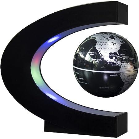 Senders Floating Globe with LED Lights C Shape Magnetic Levitation Floating Globe World Map for Desk Decoration (Black-Silver)
