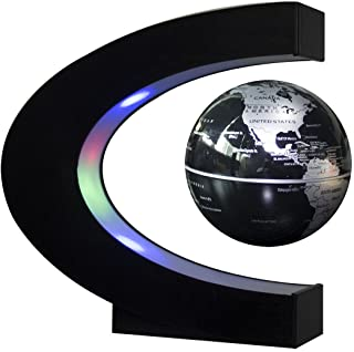 Senders Floating Globe with LED Lights C Shape Magnetic Levitation Floating Globe World Map for Desk Decoration (Black-Sil...