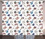 Eth Cortina 3D Cortinas Térmicas Opacas Cupcake De Setas Y Postres Estampados Colgando En El Cielo 220*215Cm Ahorro De Energía Para La Cocina De La Habitación De Los Niños Tela De Cortina De Impresión
