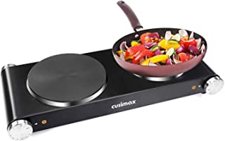 Cusimax Hot Plate Electric Double Burner Cast Iron Heating Plate Portable Burner Indoor&Outdoor Electric Stove 1800W with Adjustable Temperature Control Non-Slip Rubber Feet, Stainless Steel Easy To Clean