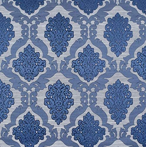 DAMASK jacquard weave Heavy weight linen fabric by the yard meter blue navy 150 cm width 240 gsm heavyweight upholstery sturdy paisley