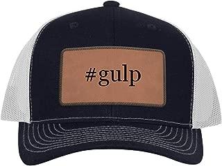 One Legging it Around #Gulp - Leather Hashtag Dark Brown Patch Engraved Trucker Hat