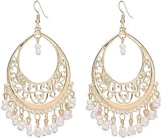 itemer ländlichen Stil Big Circle Ohrringe baumeln Ohrringe Party Ohrringe für Frauen und Mädchen weiß