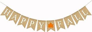 Jute Burlap Happy Fall Banner Maple Pumpkin Fall Festival Thanksgiving Day Mantel Fireplace Decoration