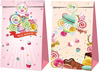 Candyland Party Favor Bags 24 Pack - Lollipop Paper Gift Bags, Goodies Candy Bags Kraft Treat Paper Bags with Stickers for...