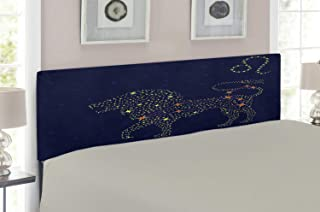Lunarable Zodiac Leo Headboard, Star Patterned Lion with Constellation on a Blue Toned Background, Upholstered Decorative Metal Headboard with Memory Foam, for Full Size Bed, Dark Blue Yellow Orange