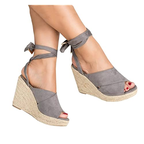 Fashare Womens Open Toe Tie Lace Up Espadrille Platform Wedges Sandals  Ankle Strap Slingback Dress Shoes