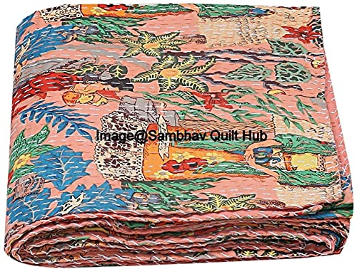 SambhavQuiltHub Frida Kahlo Printed Cotton Quilted Blanket Indian Handmade Bedspread Kantha Work Bohemian Bed Decor Throw Blanket Twin/King/Queen (60X90 inches)
