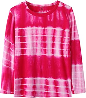 YUEXIN Girls Tie Dye Print T-Shirt Kids Long Sleeve Crew Neck Casual Top Blouse