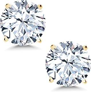 2.00 cttw 6mm White Created Sapphire 14K Yellow Gold Stud Earrings