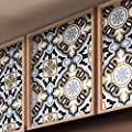 """Moroccan Mosaic & Tile House CTP05-11 BAHA Handmade Cement Tile, 8""""x8"""", Brown, Black, Gray, and White"""