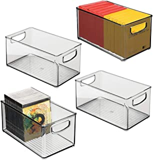 "$34 » mDesign Stackable Plastic Storage Bin Container with Handles for Home Office - Holds Gel Pens, Erasers, Tape, Pens, Pencils, Markers, Notepads, Highlighters, Staplers - 5"" High, 4 Pack - Smoke Gray"
