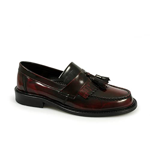 400dd85b712b Ikon SELECTA Mens MOD Skinhead Polished All Leather Tassle Loafers Oxblood  Red