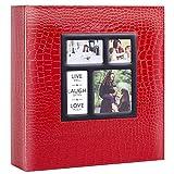 Ywlake Álbum de fotos de 10 x 15 cm, 500 fotos de piel de cocodrilo, vintage, grande, para bodas, familia, para insertar páginas negras para 500 fotos de bolsillo en color rojo