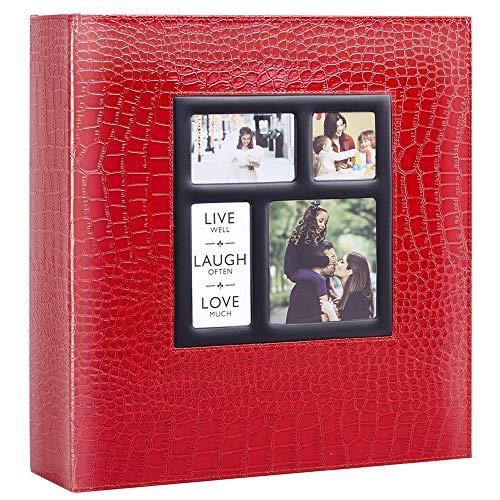 Ywlake Album Albumini Foto Portafoto 10x15 con Tasche Coccodrillo, Grande Albumino Foto Cover in Pelle per Wedding Family (500 Tasche, Rosso)