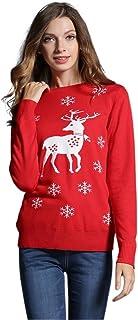 Paskyee, Suéter Feo de Navidad para Mujer, Jersey de Navidad de Punto con Cuello Redondo de año Nuevo para niñas Lindas
