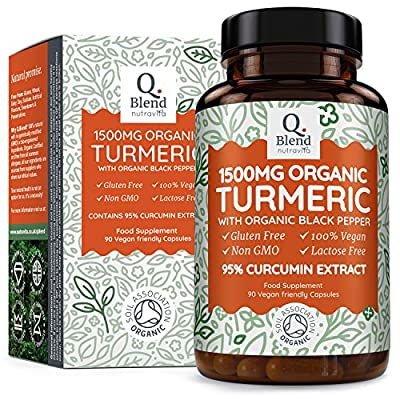 Organic Turmeric 1500mg - 95% Curcuma extract - Vegan Turmeric Capsules with 1350mg of Organic Turmeric & 150mg of Organic Turmeric Extract (95% Curcumin Extract) per Serving - Made in UK by Nutravita