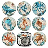 Absorbing Stone Sea Ocean Life Coasters for Drinks by Teivio - Cork Base with Holder,Coastal Decor Beach Theme Tropical,for Housewarming Apartment Kitchen Bar Decor,Suitable For Wooden Table, Set of 8