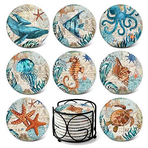 Teivio Absorbing Stone Sea Ocean Life Coasters for Drinks Cork Base with Holder,Coastal Decor Beach Theme Tropical,for Housewarming Apartment Kitchen Bar Decor,Suitable for Wooden Table, Set of 8