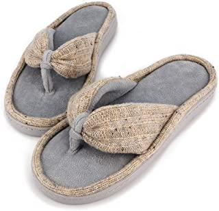 Famiport Velvet Thong Flip Flop Slippers for Women Memory Foam Spa Open Toe Grey Slipper Summer Washable Arch Support Comfy Terry House Slippers Indoor Outdoor with Thick Non-slip Rubber Sole
