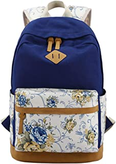 Vibola Canvas Backpack for Women Floral Print Large Capacity Lightweight Shoulder Bag Travel Daypacks Student Backpack
