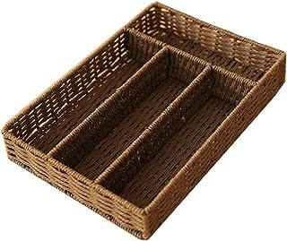 Storage Box Desktop Cosmetic Storage Box Home Living Room Weaving Storage Basket Drawer Type Glove Box, Beige, Brown JAHUAJ (Color : Brown)