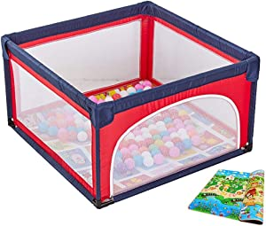 LXDDP Safety Baby Play Yard with Balls and Mattress Folding Anti-Rollover Nursery Center Toddlers Playpen with Zipper Door