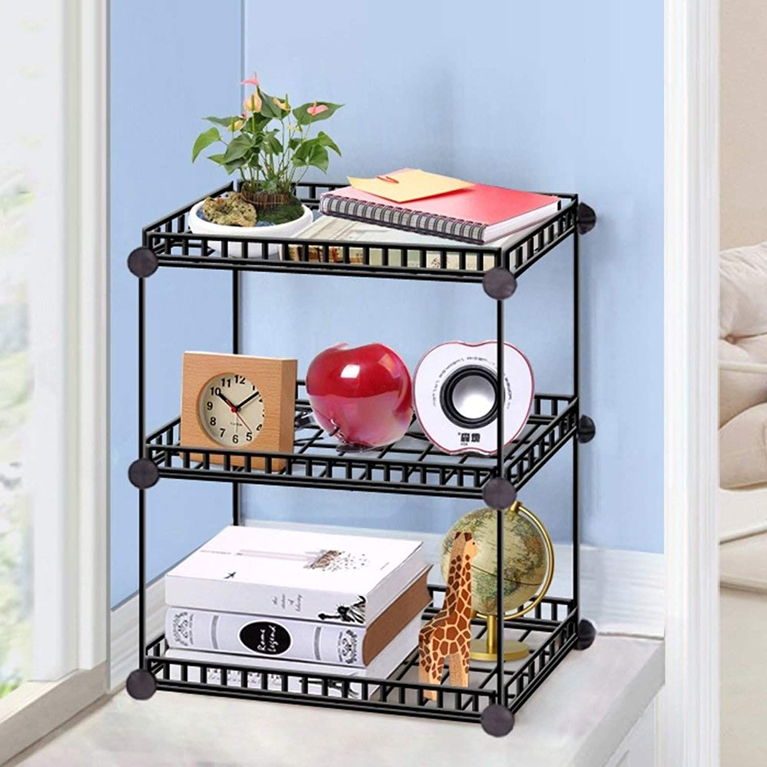 JSSCL Iron net Creative Study Finishing Storage Rack, Table Small Bookshelf Fleshy Shelf Rack (Size   S)