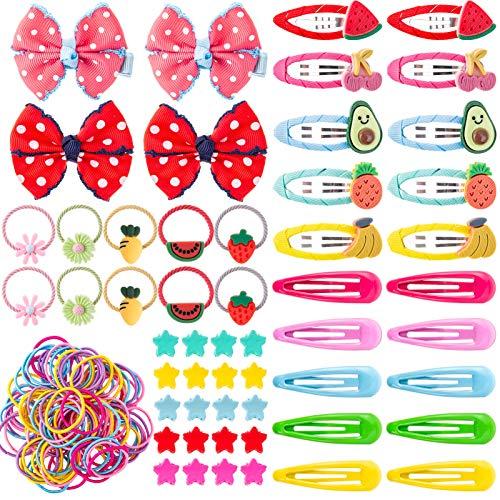 154 Stück Mädchen Haarschmuck Set, Mädchen Haarspangen Haargummis Mini Haarclips Haarklammern zum Baby Kinder Mädchen