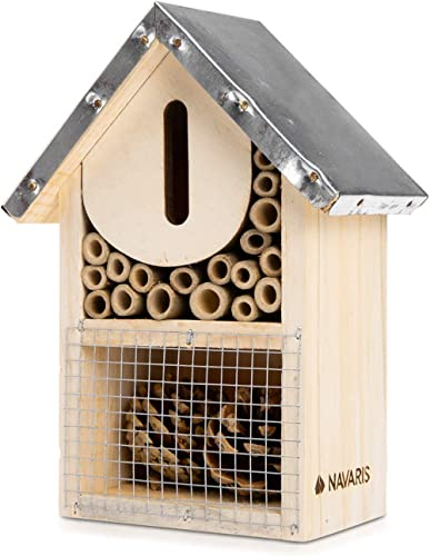 Navaris Hôtel à Insectes Bois - Maison pour Insectes 20 x 15 x 8 cm - Refuge Abeille Coccinelle Papillon Insecte Vola...