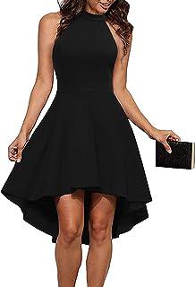 935b59f7 THANTH Womens Dresses Halter Neck Sleeveless Backless High Low Cocktail  Skater Dress
