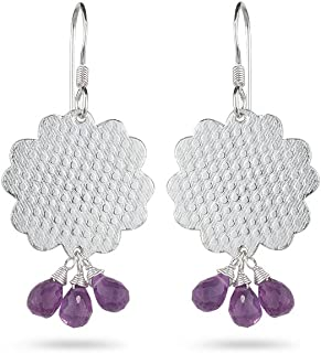 Lovely earrings for summers crafted with AA quality briolette-cut Amethyst gemstones. Briolette shape has facets on all sides and is drilled in the center to be hanged as a bead. Amethyst is also known as the Bishop's Stone, available in shades of purple an