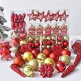 WEYON 113 Stück Christbaumkugeln Set Weihnachtskugeln aus Kunststoff Golden & Rot Baumschmuck Weihnachtsbaum Deko & Christbaumschmuck in unterschiedlichen Größen und Designs - 6